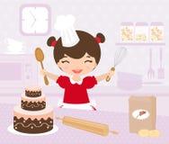 Cute little girl baking. A vector illustration of a cute little girl baking Royalty Free Stock Images