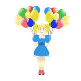 Cute little girl with ballons Royalty Free Stock Photo