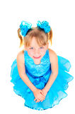Cute little girl in ballroom dress stock images