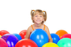 Cute little girl with baloons Royalty Free Stock Photos