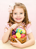 Cute little girl with basket Stock Photography