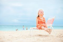 Cute little girl at beach royalty free stock photo