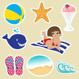 Cute little girl with beach ball Stock Image