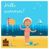 Cute little girl on beach Royalty Free Stock Photos