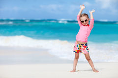 Cute little girl at beach Stock Photos