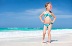 Cute little girl at beach. Portrait of cute little girl at tropical beach Royalty Free Stock Photography