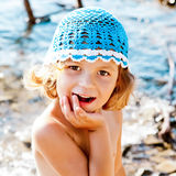 cute little girl on beach vacation Stock Image