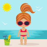 Cute little girl on the beach Royalty Free Stock Image