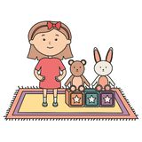 Cute little girl with bear teddy and rabbit royalty free illustration