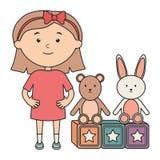 Cute little girl with bear teddy and rabbit vector illustration