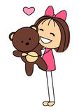Cute little girl with bear toy Royalty Free Stock Images