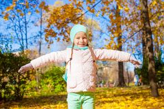 Cute little girl at beautiful autumn day outdoor Royalty Free Stock Photography