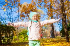 Cute little girl at beautiful autumn day outdoor Stock Photography