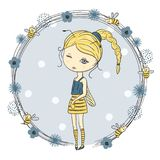 Cute little girl in a bee costume. Fashion print for kids. Vector illustration stock illustration