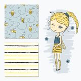 Cute little girl in a bee costume. Fashion print set with seamless patterns royalty free illustration