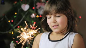 Cute Little Girl With Bengal Lights stock footage