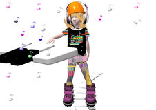 Cute little girl in big boots and headphones playing music Royalty Free Stock Photography