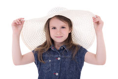 Cute little girl in big summer hat isolated on white Stock Images