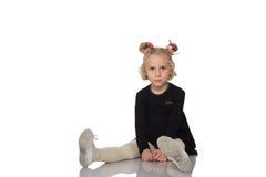Cute little girl in black dress Stock Photo