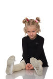 Cute little girl in black dress Stock Images