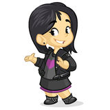 Cute little girl with black hair dressed in black smiling and presenting. Vector cartoon rock'n'roll fan character Stock Images