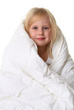 Cute little girl in blanket Stock Images