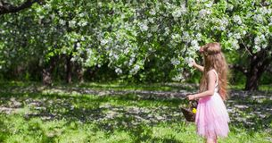 Cute little girl in blossoming apple orchard at Stock Photography