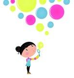 Cute little Girl blowing Soap bubbles. stock illustration