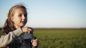 Cute little girl is blowing soap bubbles in the meadow on a sunny day. Slow Motion. Happy childhood. Blurred background.  stock video