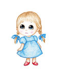 Cute little girl in blue dress Royalty Free Stock Photography