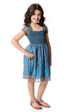 Cute little girl in blue dress Stock Images