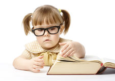 Cute little girl with book, back to school Stock Image