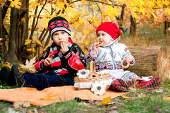 Cute little girl and boy eating bagels in autumn park royalty free stock image