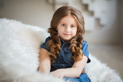 Cute little girl with braids Stock Images