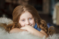 Cute little girl with braids Royalty Free Stock Image