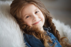 Cute little girl with braids Royalty Free Stock Photography