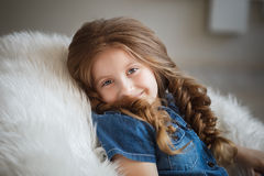 Cute little girl with braids Stock Photos