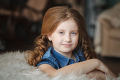 Cute little girl with braids Royalty Free Stock Photos