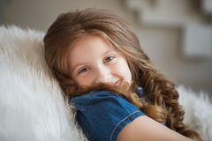 Cute little girl with braids Stock Image