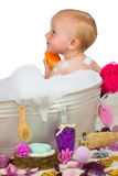 Cute little girl in a bubble bath Stock Photo
