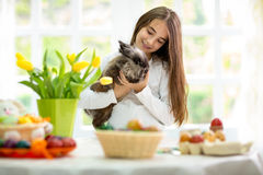 Cute little girl with bunny Stock Images