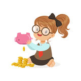 Cute little girl businesswoman shaking piggy bank full of money, kids savings and finance, richness of childhood vector. Illustration isolated on a white Royalty Free Stock Photography
