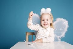 Cute little girl with butterfly costume Royalty Free Stock Image