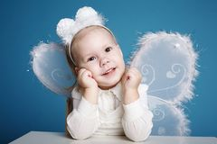 Cute little girl with butterfly costume Royalty Free Stock Photography