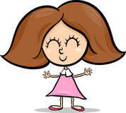 Cute little girl cartoon illustration Royalty Free Stock Image