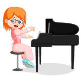 Cute little girl cartoon playing piano royalty free illustration