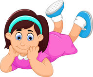 Cute little girl cartoon prone Royalty Free Stock Images