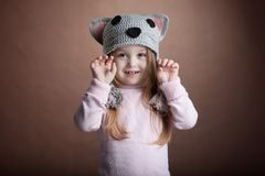 Cute little girl in cat costume Stock Photography