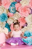 Cute little girl celebrate her first birthday Stock Images