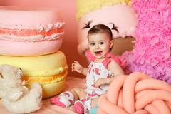 Cute little girl celebrate her first birthday Royalty Free Stock Photo